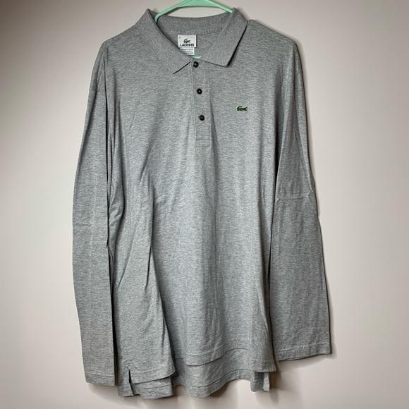 483378a30c36b Lacoste  Mens Grey Long Sleeve Logo Polo